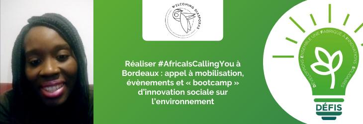 Réaliser #AfricaIsCallingYou à Bordeaux : appel à mobilisation, évènements et « bootcamp » d'innovation sociale sur l'environnement